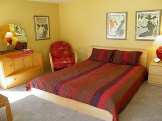 "Palm Springs house photo - Colorful Casita Has Regular Queen Bed Plus Queen Sofa Bed, its Own A/C, 27"" TV."