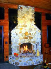 Big Sur house photo - Big Sur River Stone Fireplace and lots of wood