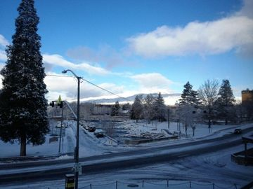 Our winter wonderland view from the LR--join locals building snowmen in the park