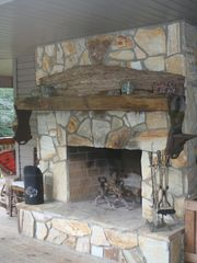 Robbinsville house photo - Warm up to the outdoor fireplace...firewood can be purchased and waiting for you