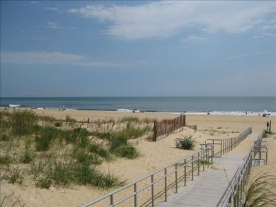 Just walk over the dune & you're on the beautiful wide beach at 70th St.