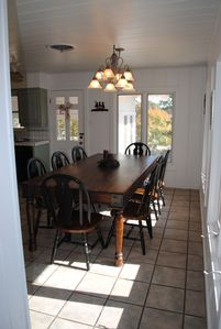 Hunt lodge rental - Large Dining Area in the Kitchen with river views