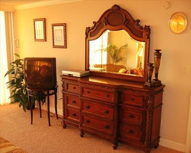 Luxurious hand carved furniture in the Master Bedroom!