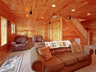 Pigeon Forge cabin photo - Lower level den with extra queen sleeper sofa Large laundry room off the den