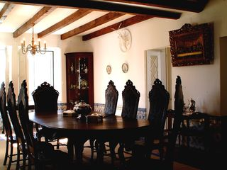 Ferragudo house photo - Dining room with leatherwork chairs and antique table