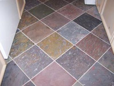 High end designer tile on kitchen floor
