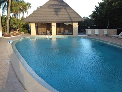 Inviting pool area with private restrooms. Pool is heated.