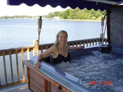 Friend enjoys hot-tub