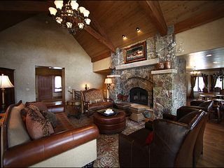 Baldy Mountain Breckenridge house photo - Great Room with Wood Burning Stone Fireplace