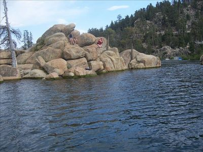 Boat over to the Popular Diving Rocks in Big Bear Lake