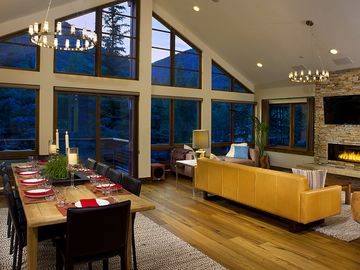 Gore Creek Lodge features open plan living with a beautiful mountain view