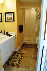 Bathroom 2, features a large shower!