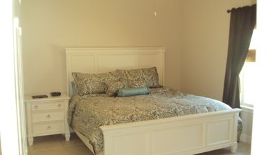 King Bed in Master Bedroom - Private bath, 2 sinks and walk in closet