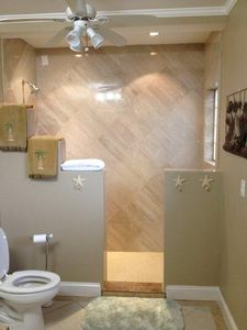 Lower Bathroom with large walk in shower