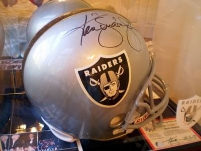 Autograph bedroom Ken Stabler signed Oakland Raiders helmet.