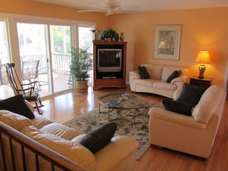 Isle of Palms house photo - A Comfortable Living Room with a TV, DVD and a View of the Ocean