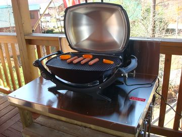 Grill out even in the rain with our Weber electric grill located on the deck