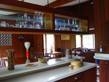 The open kitchen with a view into the dining room.