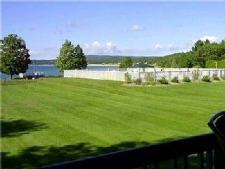 Petoskey condo rental - View of Pool and Lake from Deck