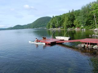 Newfound Lake cottage photo - View of dock from deck