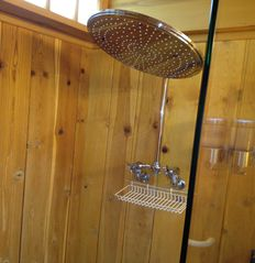 Heavenly Valley condo photo - Rain shower head, open European shower with pine and onyx mosaic tile.