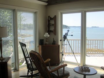 View of the living room, looking towards the ocean.