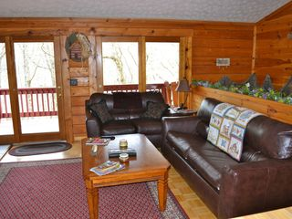 Sevierville cabin photo - Relax and watch tv on the new leather couch and loveseat.