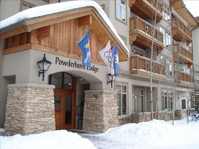 Our Powderhorn condo is just above and to the right of the main entrance.