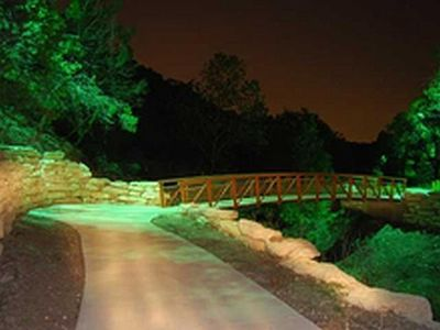 Walking trail and park at night.