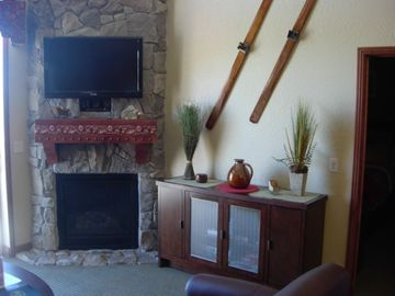 Fireplace in Family Room at Park City, UT Condo at Canyons Ski Resort