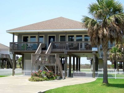 "Front view of ""Molly's Dune"" beach house in Pirate's Beach, Galv, TX"