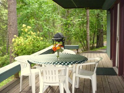 Private deck in wooded area with patio table and barbecue - new BBQ not in photo