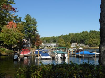 Laconia condo rental - Boats sit at the docks, in the protective cove.....boat dock is available...