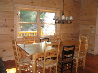 Sugar Mountain cabin rental - Dining area with view of yard