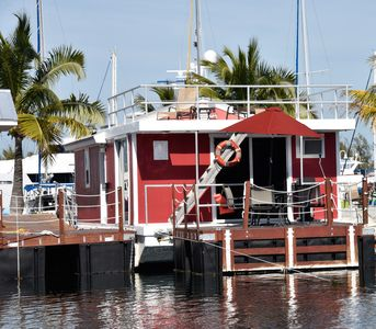 "The Red Grouper is one of five floating ""boatel"" condos at Stock Island Marina."