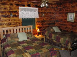 Munising chalet photo - Main floor bedroom, Queen and single beds.