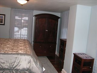 Cape May house photo - 1st floor master bedroom w/king size bed, flat screen TV & private bath