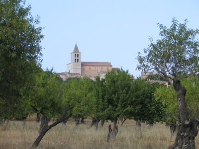 Campanet church from almond field