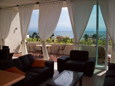 Panoramic ocean view from living dining room.