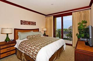 Ko Olina villa photo - Master Bedroom with King Bed and private lanai entrance, TV and DVD