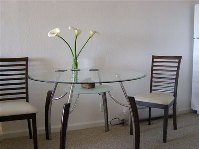 Condo is furnished with a very modern California feel.