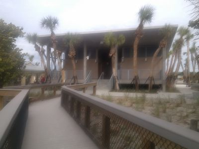 New Manasota Beach main changing area, bathrooms, and quick rise-off showers.