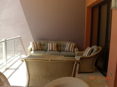 New sofa, love seat and plush chair for a glass of wine & wonderful sun sets!