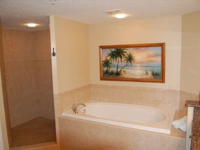 Master suite bathroom includes jacuzzi style tub and large walk-in shower