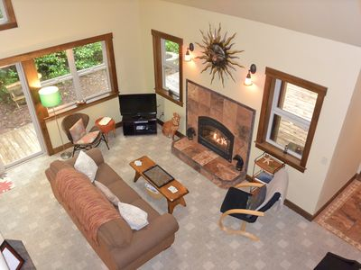 Birds eye view of the living room. Great place for family and friends to gather.