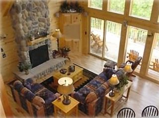 Great Room with Gas Fieldstone Fireplace