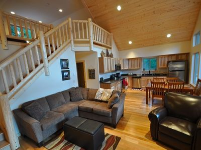 Main Floor Great Room with vaulted pine ceilings