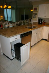 Pullout trash bin, new quiet series dishwasher...