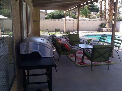 Gas BBQ and patio seating for 15.