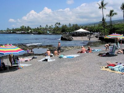 Kahalu'u is one of the best snorkeling spots on the Big Island, 1 mile away